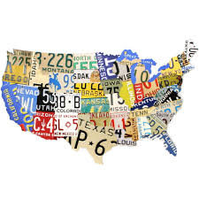 Images Of The Usa Map by Usa Map License Plate Style Metal Sign Travel Decor