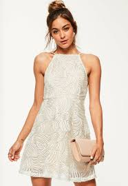 lace 90 u0027s neck skater dress missguided