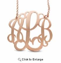 three initial monogram necklace three initial silver monogram necklace 1 5 inch