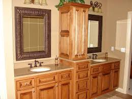 furniture brown wooden bathroom cabinet with linen storage among