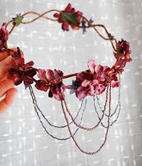 flower accessories bohemian wreath mauve flower crown by gardensofwhimsy on etsy
