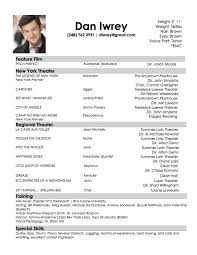 theatrical resume format resume for 71 images acting resume template daily