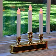led window candle 3 tier brass finish auto