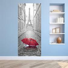 home decor drop shipping lovely pets 3d door sticker paris eiffel tower waterproof decal