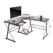 bonvivo designer desk massimo amazon com l shape corner computer desk pc glass laptop table