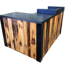 L Shaped Reception Desks Buy A Made 3 Reclaimed Torched Pine Wood L Shaped Reception