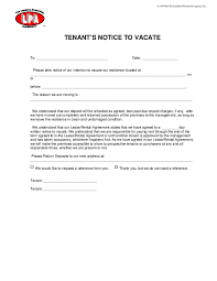 printable sample notice to vacate template form real estate