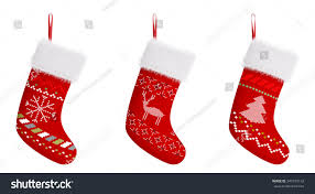 red christmas stockings patterns isolated over stock illustration