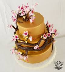 cherry blossom and gold baby shower cake artisan cake company