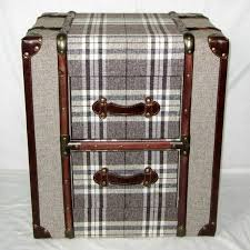 trunk style bedside tables canvas brown check 2 drawer trunk chest or bedside table allissias