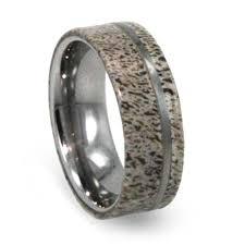 Tungsten Carbide Mens Wedding Rings by Tungsten Carbide Wedding Band With Genuine Deer Antler