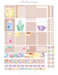 coffee planner stickers printable freebies evydraws