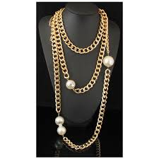 big pearl choker necklace images Cirgen fashion long multi layer chunky gold color aluminum chain jpg