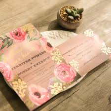wedding invitations gold foil rustic pink floral gold foil wedding invitations