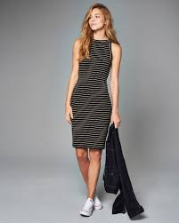Black And White Striped Bodycon Dress Abercrombie U0026 Fitch Striped Bodycon Midi Dress In Black Lyst
