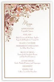 Wedding Invitations With Menu Cards Wedding Menu Cards Paisley Garden Menu Card Custom Design For