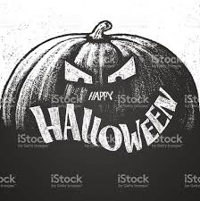happy halloween chalk lettering with pumpkin stock vector art