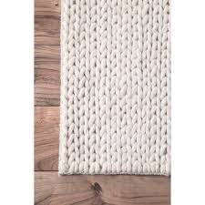 nuloom handmade braided cable white new zealand wool rug 9 u0027 x 12