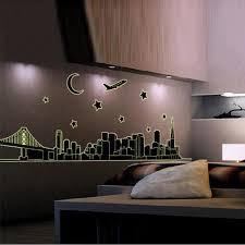 night new york skyline city glow in the dark removable wall new york skyline city night glow in the dark removable wall sticker decal art