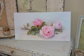 Shabby Chic Paintings by Original Roses Painting Shabby Chic Roses Painting