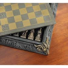 medieval knight dragon battle carved chess game set board games