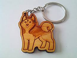 wooden keychain wooden siberian husky keychain wood keychain carving
