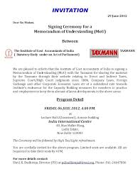 invitation for attending the mou signing ceremony between the