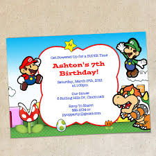 super mario brothers invitation template instant download