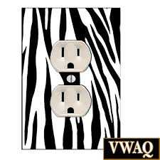 zebra print pattern wall plug cover decal outlet wall art kids