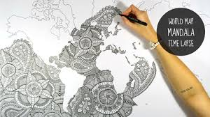World Map To Color by World Map Mandala Speed Drawing Youtube