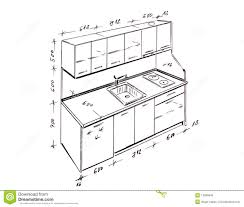 modern interior design kitchen freehand drawing royalty free