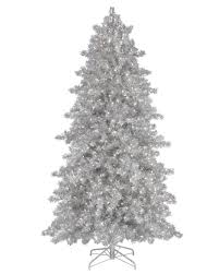 6 ft narrow silver tinsel clear lit tree tree market