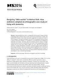 how to write an ethnographic research paper designing little worlds ethnographic case study on living with designing little worlds in walnut park how architects adopted an ethnographic case study on living with dementia