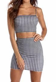 matching set gingham crop top and skirt matching set shop elettra