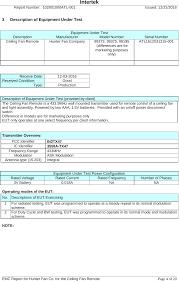 hunter fan company 99375 tx47 remote control for ceiling fan test report emc hunter fan company