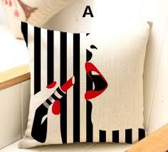 coussin decoration canapé pop lèvre coussin pour la maison décoration bande noir