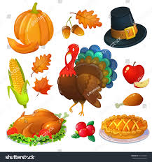 thanksgiving icons pictures set thanksgiving icons colorful cartoon greeting stock vector