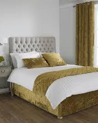 verona crushed velvet bed runner in ochre terrys fabrics uk
