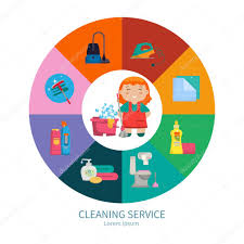Cleaning The House by Cartoon Little With A Set Of Objects For Cleaning The House