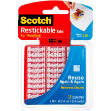 Restickable Wallpaper by Scotch Restickable Tabs 1 In X 1 In Clear 18 Pack Walmart Com