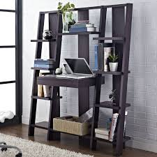 White Ladder Bookcase With Drawers by Furniture Black Wood Leaning Bookcase With Wicker Hamper On Lowes