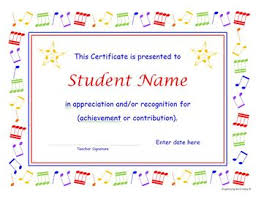 music certificate and concert program templates with re useable