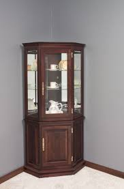 Corner Console Cabinet Elegant Brown Color Wooden Kitchen Console Curio Cabinets Features