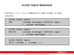 Alter Table Drop Column 2 Copyright 2009 Oracle All Rights Reserved Managing Schema