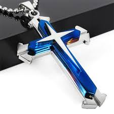 steel cross necklace images Unisex men stainless steel cross blue silver pendant necklace jpg