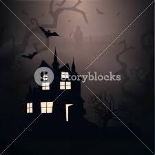 banner or background for halloween party night with haunted house