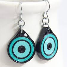 eco friendly earrings eco friendly earrings neon aqua and black by honeysquilling on zibbet