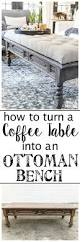 How To Make A Coffee Table Ottoman Diy Ottoman Bench From A Repurposed Coffee Table Bless U0027er House