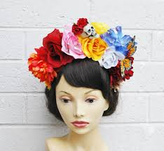 day of the dead headband dia de los muertos headband skull flower crown headband flower