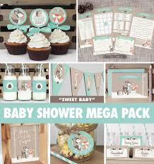 woodland themed baby shower decorations winter woodland baby shower mega pack instant